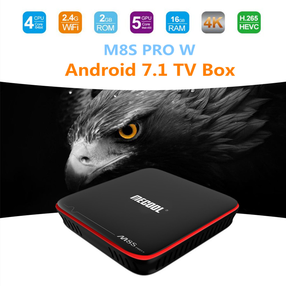 цена на MECOOL M8S PRO W Android 7.1 TV Box Amlogic S905W Smart TV Box 2G RAM 16G ROM CPU Mali-450 2.4GHz WiFi 4K H.265 Set-top Box