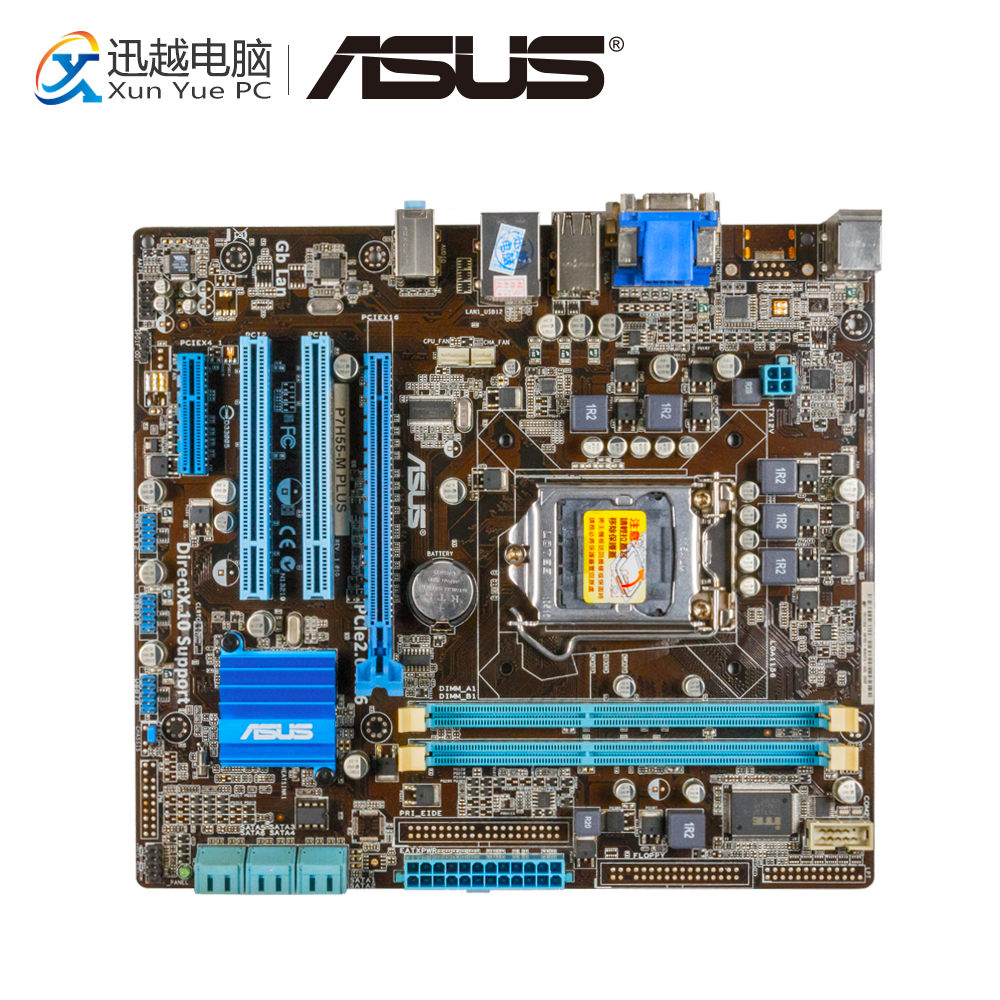 Asus P7H55-M PLUS Desktop Motherboard H55 Socket LGA 1156 i3 i5 i7 DDR3 8G DVI VGA uATX On Sale asus p5g41t m lx3 plus motherboard lga 775 ddr3 8gb for intel g41 p5g41t m lx3 plus desktop mainboard systemboard sata ii used