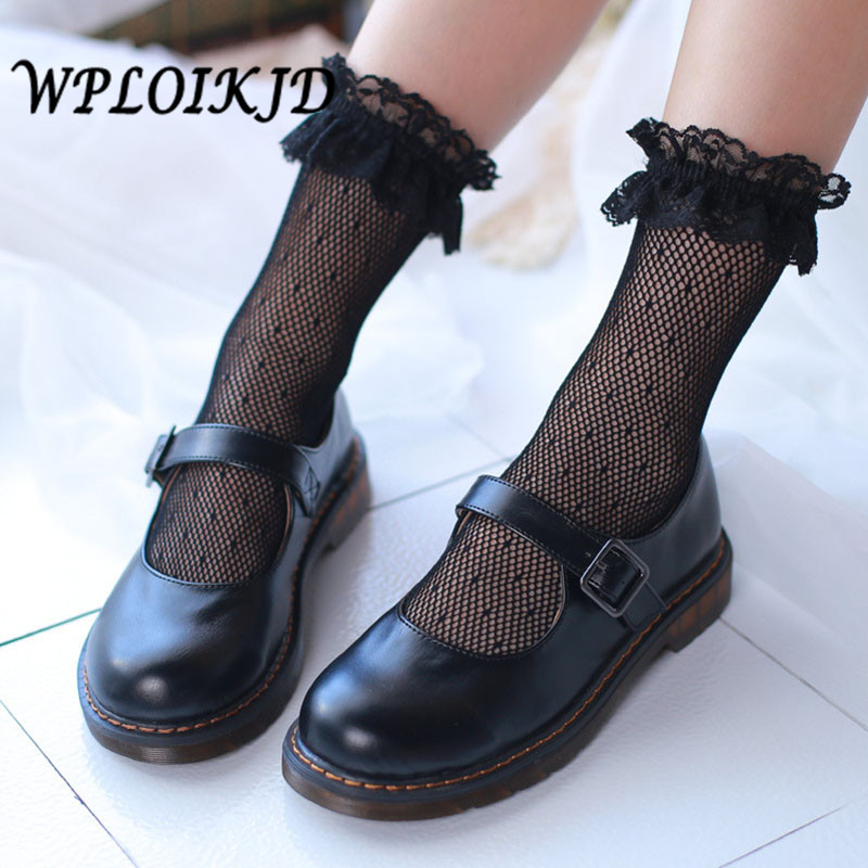 [WPLOIKJD]Harajuku Hollow Out Women Creative Sexy   Socks   Japan Princess Transparent Lace Fishnet   Socks   Calcetines Mujer