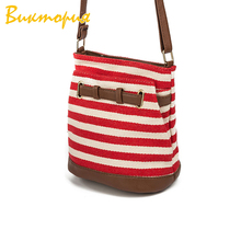 CHARA'S BAGS Canvas stripes women' messenger bags Drawstring leather Shoulder Bags Female student book bag