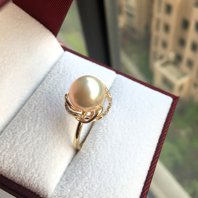 Eternal wedding Women Gift word 925 Sterling silver real Taihu pearl ring round to light  18K