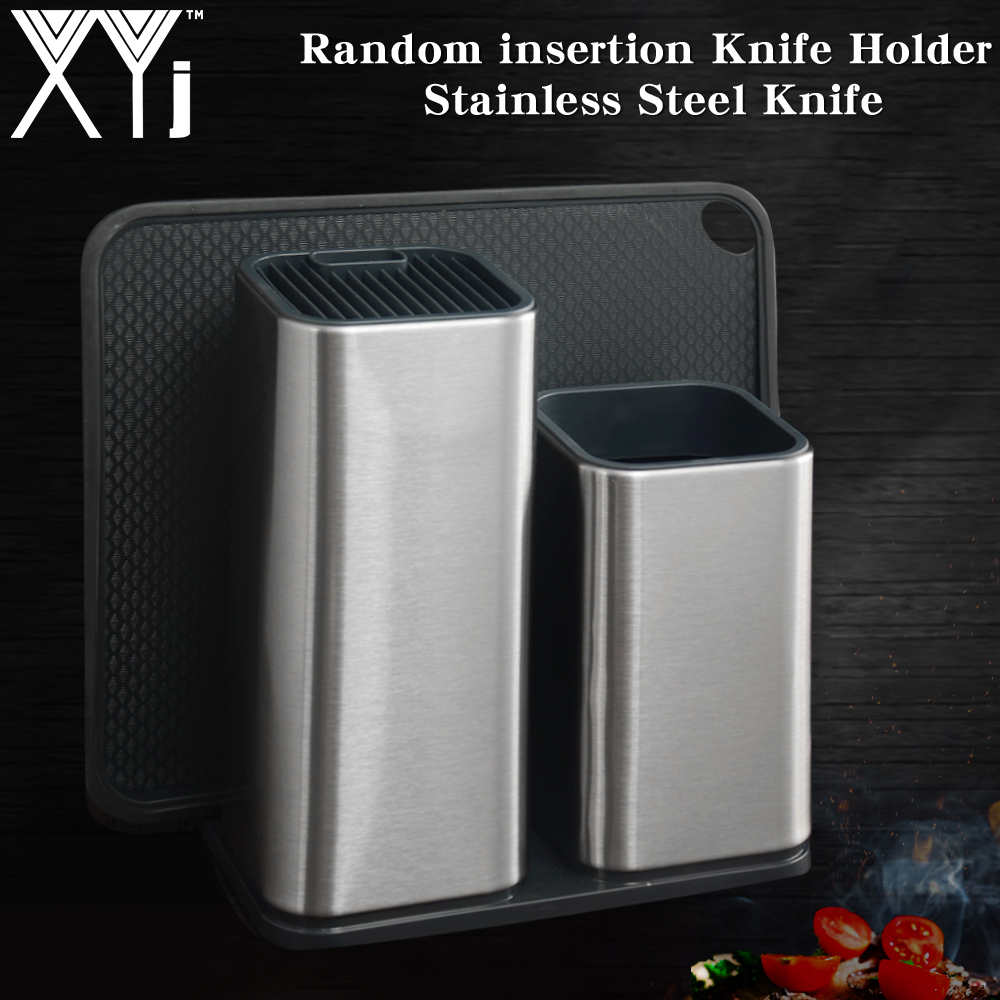 XYj New 304 Stainless Steel Knife Holder Multifunctional Storage Stand Rack Metal Block Kitchen Cooking Chef Tool