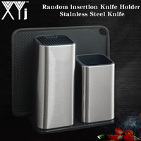 XYj New 304 Stainless Steel Knife Holder Multifunctional Storage Knife Stand Rack Metal Knife Block Kitchen Cooking Chef Tool