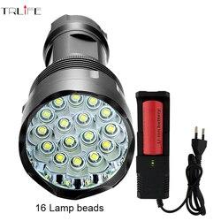 High Power Taschenlampe 16 * T6 Mächtigsten LED-Blitz licht mit 26650 batterie wasserdichte taschenlampe lanterna camping
