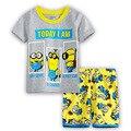 2016 Conjuntos de Roupas de moda Verão dos desenhos animados Do Bebê meninos das Crianças ternos de pijama Kids Clothing Set pijamas de algodão t-camisas + calças