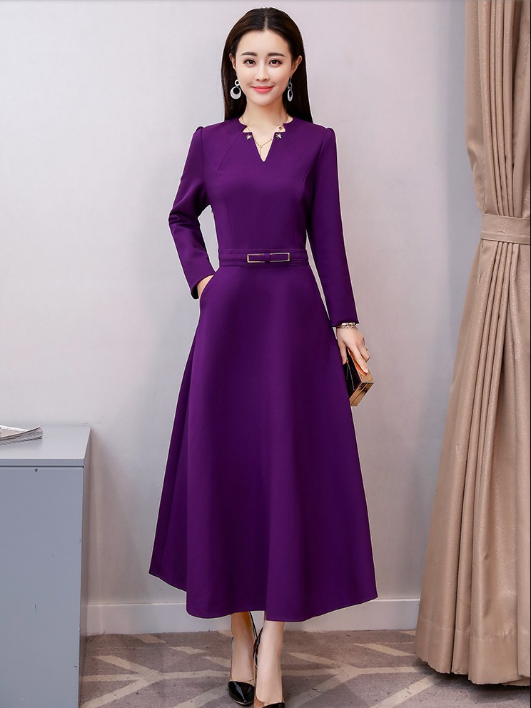 2018 new design quality long purple sleeve dresses girls fashion spring  summer holiday slim wine dress 900f38b95648