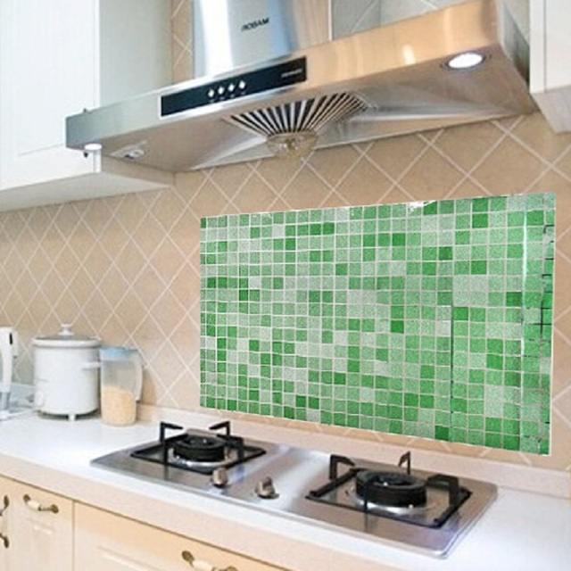 Diy Mosaic Tile Wall Stickers Bathroom Kitchen Removable Wallpaper Aluminum Foil Sticker Home Decor
