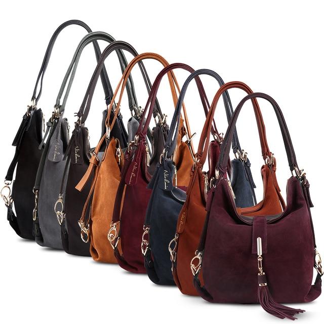 Women Real Split Suede Leather Shoulder Bag Female Leisure Nubuck Casual Handbag Hobo Messenger Top-handle bags 5