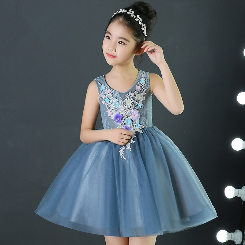 New Flower Girl Dresses Blue Tulle Real Party Pageant Communion Dress Appliques Little Girls Kids Children Dress for Wedding