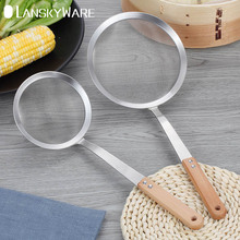 LANSKYWARE 30/60 Mesh Kitchen Colander 304 Stainless Steel Flour Sieve With Wooden Handle Residue Strainer Oil Filter Spoon grease slender filter long handle spoon for oil