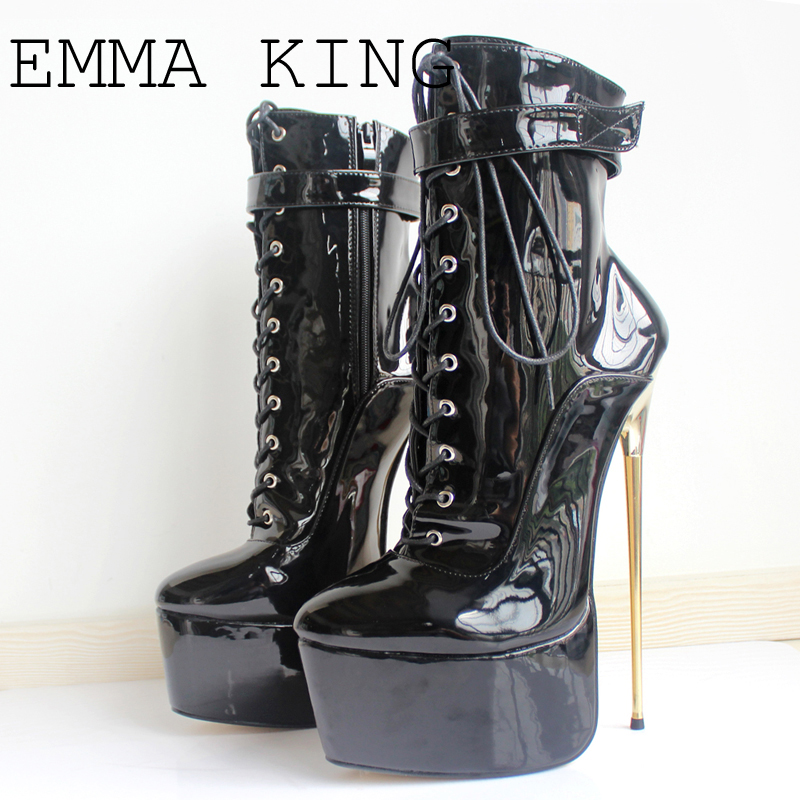 New 2018 Sexy Women Boots High Gold Thin Heels Platform Sex Fetish Nightclub Party Dance Ankle Boots Plus size 35 43EURO 35# 43#