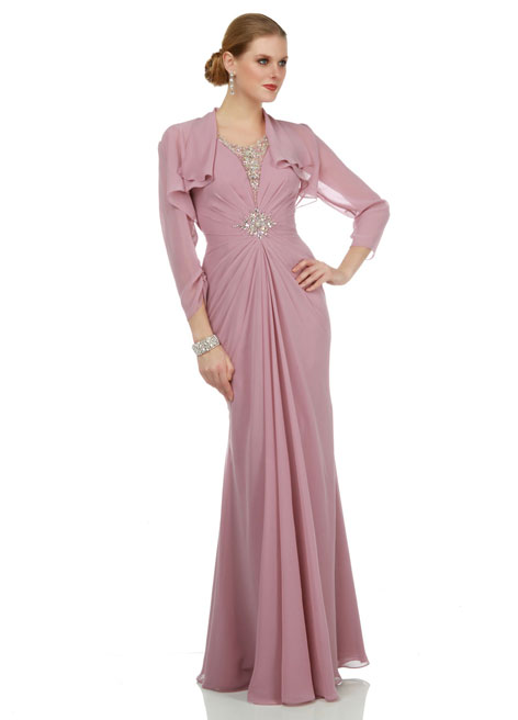 Vestido Con Chaqueta Custom Made Charming A-Line V Neck Beaded Chiffon Backless Mother Of The Bride Dresses With Long Jacket
