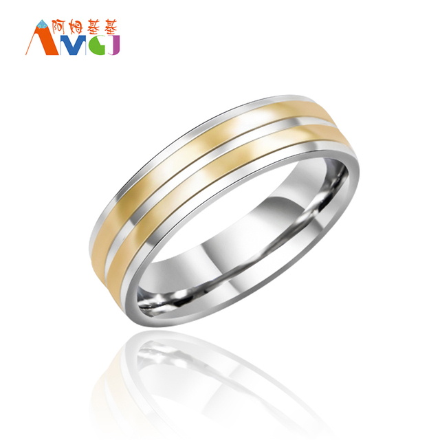 Double Gold Line Stainless Steel Mens Ring For Wedding Rock Bands Jewelry US Size 7 8