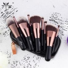 Anmor 9PCS Mini Makeup Brushes Set Make Up Brush Professional Portable Foundation Eyeshadow Cleaner Blending Cosmetic bag Tools