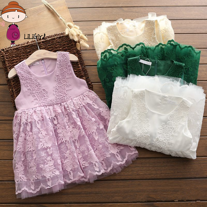 Newborn Girl Dress Baby Kids Summer Solid Color Sleeveless Dress Sweet Fashion Girls Lace Princess Dresses Elegant Party Clothes retail fashion summer girl dress sleeveless kids dresses for girl tutu party dress lace polka dot novatx brand girls clothes