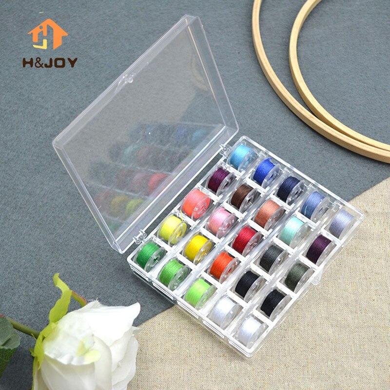 25 Stücke Nähen Spulen Mischfarben Polyester Nähgarn Transparente Kunststoffspulenkörper Home Mini Nähmaschine Zubehör Set