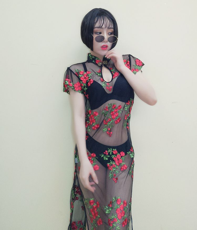 Florals Full Printing Net Mesh See Through Clear Transparent Black Long Dress Women Sexy Costumes Harajuku Cosplay Pole Dancing