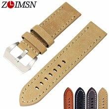 ZLIMSN Relojes para hombres reloj Accesorios Reloj de Cuero Genuino Banda de Reemplazo 20mm 22mm 24mm 26mm de Cuero Pin correa de Hebilla