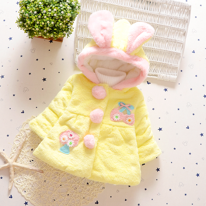 Brand Winter Coat Lovely Solid Fashion Kids Baby Girl Clothes Latest Girls Children Clothing Fur Ball Small Fresh Rabbit Hat
