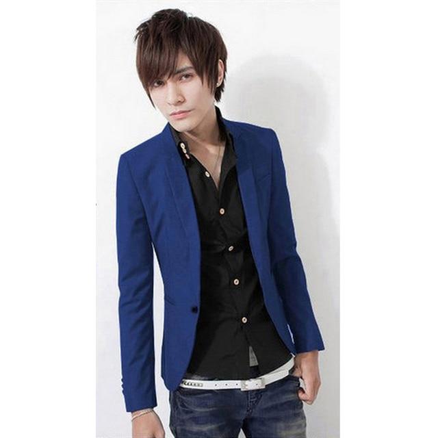 2016 Fashion Party Mens slim fit cotton blazer Suit Jacket black blue beige plus size M-3XL Maleblazers Mens coat Wedding dress