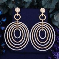 GODKI 86mm Luxury Trendy Annual Ring Design Full Mirco Paved Crystal Zircon Naija Wedding Drop Earring