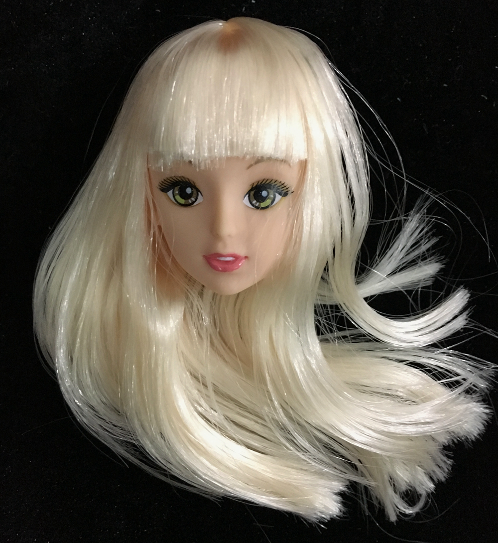 NK One Pcs Fashion Doll Head Largo cabello dorado accesorios de bricolaje para Barbie Kurhn Doll Mejor regalo de la muchacha 'juguetes para niños DIY 024B
