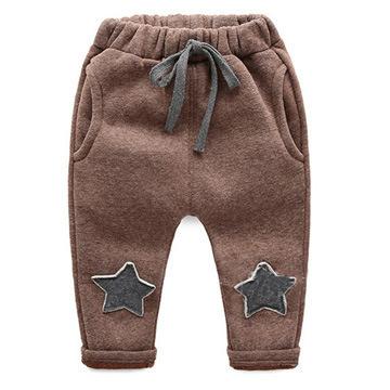 2016 Poliéster Venta Nueva Primavera Invierno Gruesa 0-2 Años de Dibujos Animados 4 Colores de Algodón Pantalones Del Bebé 7-24 Meses Niño Niños Niñas Harem