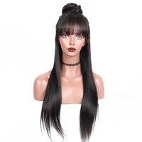 360 Кружева Фронтальная парик предварительно сорвал с ребенком волос бразильского прямые волосы, парики, кружева с челкой 150% плотность челов