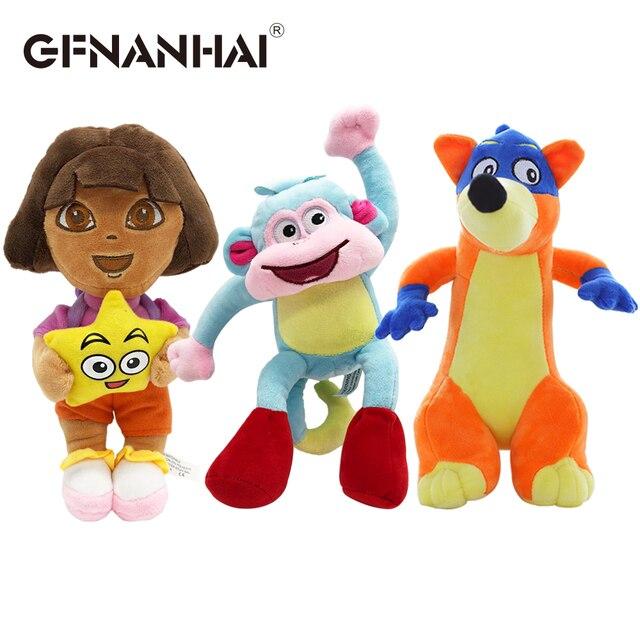 1 PC 25 cm dễ thương Dora/Khỉ Giày/Fox Nhồi Bông sang trọng Đồ Chơi tình yêu phiêu lưu của Dora búp bê TIVI & phim cho trẻ em Quà tặng