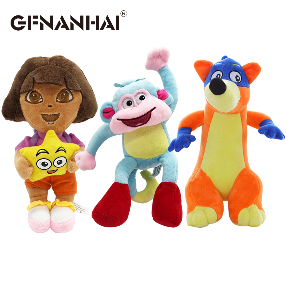 1pc 25cm Cute Dora/Monkey Boots/Fox Stuffed Plush Toys Genuine Love Adventure Of Dora Dolls TV & Movies Game For Kids Gift