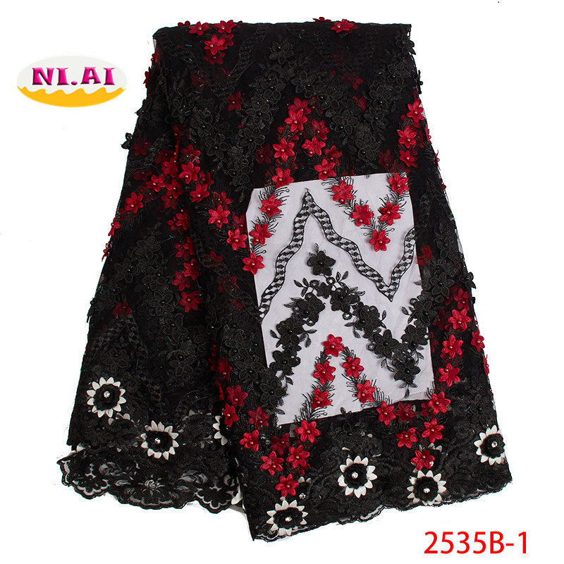 2019 Latest African French net lace fabric Hot sale Nigerian beaded lace fabric for wedding dress