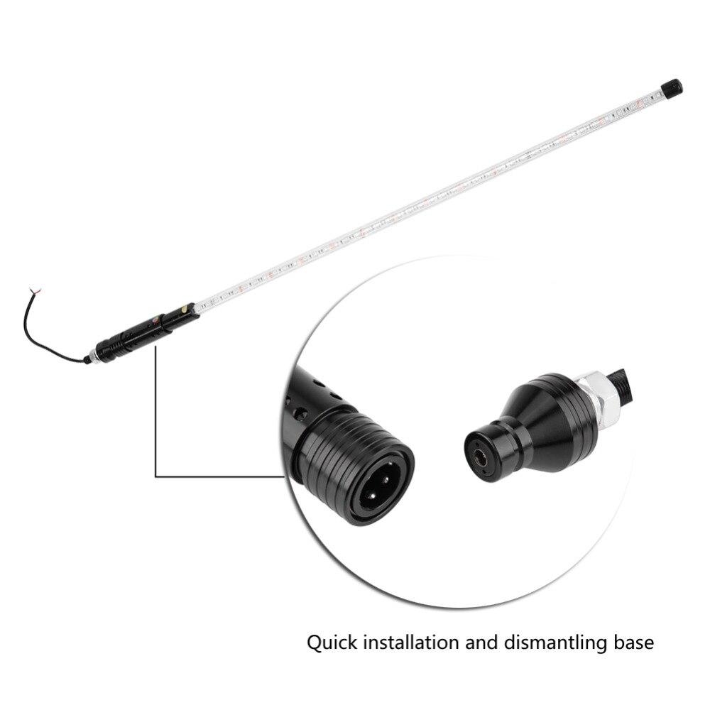 3FT RGB imperméable à l'eau pliable sans fil télécommande LED très brillante mât lampe lumière anti-collision anti-corrosion PVC tuyau - 5