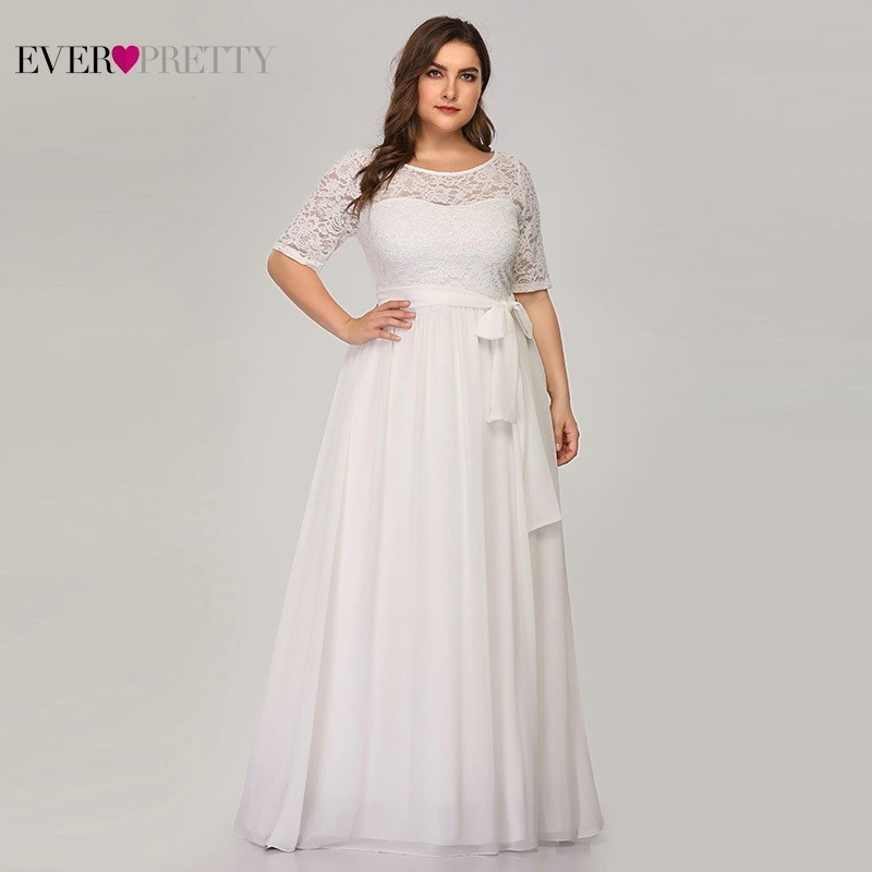 Plus Size Lace Wedding Dresses 2020 Ever Pretty EZ07624WH A-Line O-Neck Bow Sashes Half Sleeve Elegant Bride Dresses Gelinlik