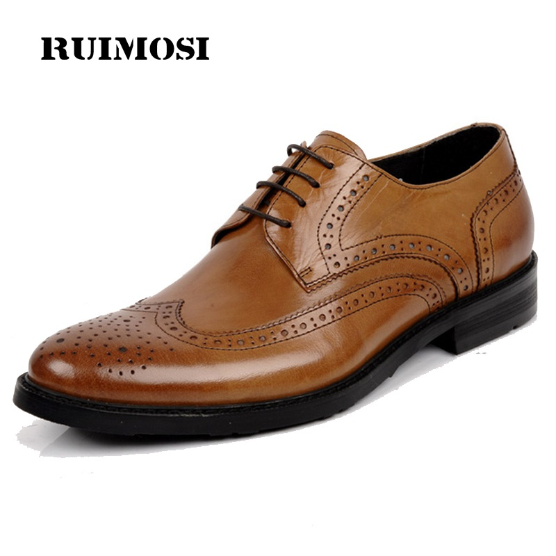 RUIMOSI Round Designer Brand Platform Man Formal Dress Shoes Vintage Genuine Leather Brogue Oxfords Men's Wing Tip Flats IH36