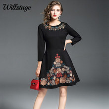 Willstage 2018 Spring New Dress Women Little Black Floral Embroidery Dresses  with Pocket Pattern Printed Vintage 9e9f3349724e