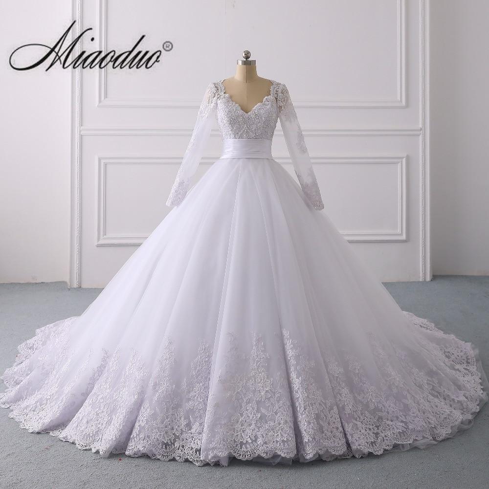 Spring White Wedding Dress 2019 Ball Gown Sweetheart Long Sleeve dubai dresses wedding real photo casamento