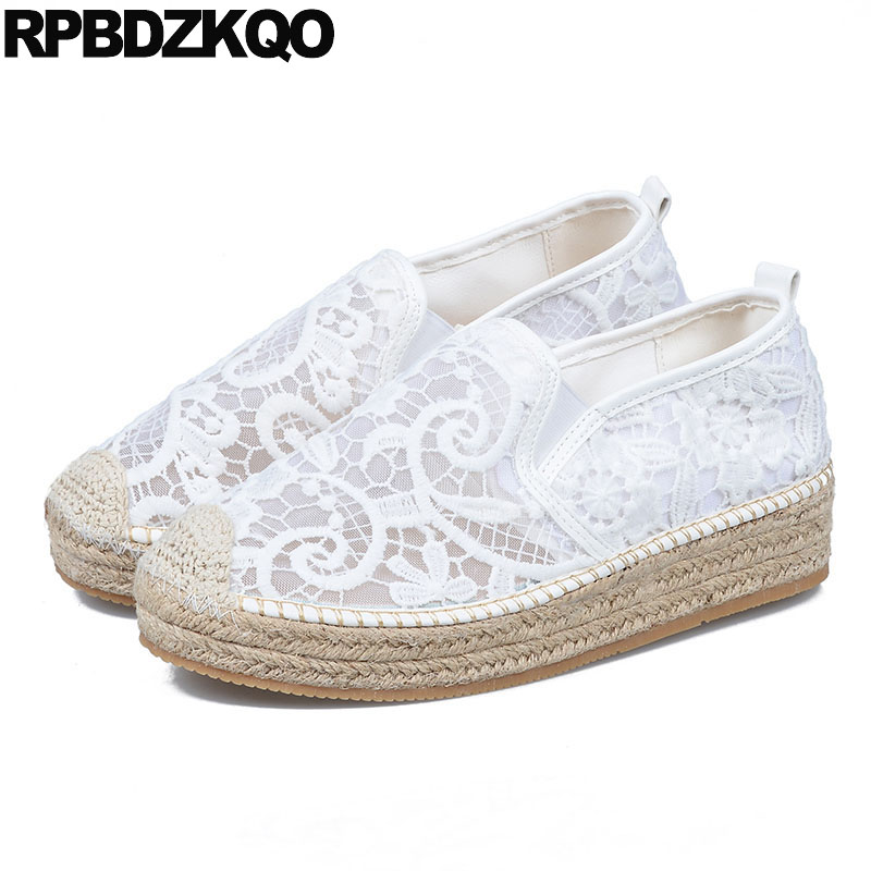 Black Women Lace Straw Designer Latest Mesh Hemp White Creepers Platform Shoes Espadrilles Summer Elevator Flats Thick Sole