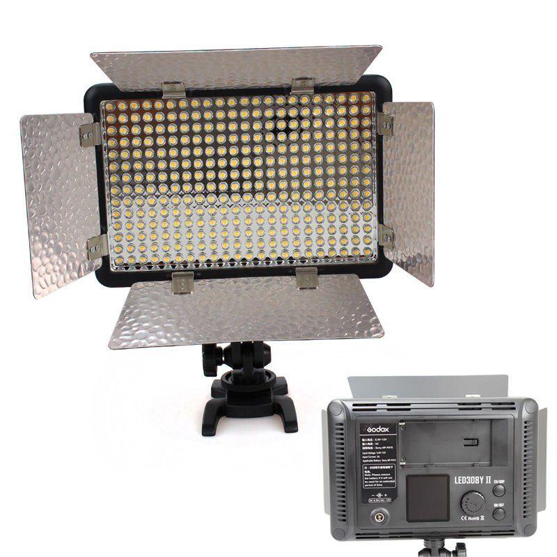 Godox 308Y II LED 3300K Video Light +Remote+Handle For DSLR Camera Camcorder DV godox led 308y 308 leds professional led video 3300k light with remote control for canon nikon camera dv camcorder