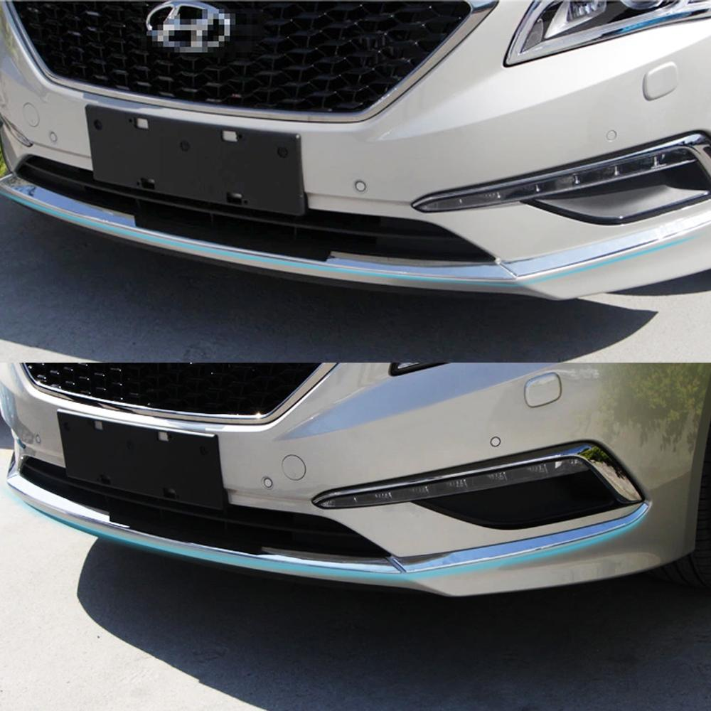 Car ABS Chrome Racing grille Bumper scuff trim 3pcs products for Hyundai Sonata 2014 2015