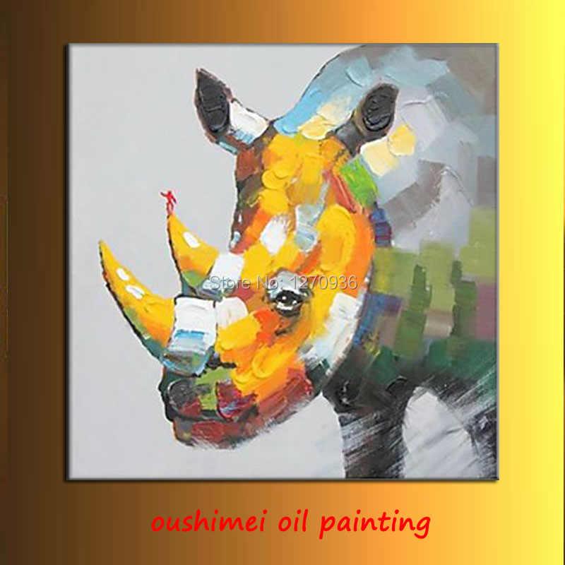 Большие антенны огромный носорог гуляет с головой вниз хорошая картина маслом на холсте для украшения гостиной ручной работы rhino art