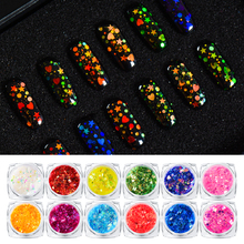 1 Box Shiny Round Heart Star Ultrathin Nail Sequins Colorful Nail Art Glitter Tips 3D Nail Decoration Manicure DIY Accessories new 3d nail art tips laser silver sequins square round sequins nail glitter rhinestone diy nail wheel art decoration