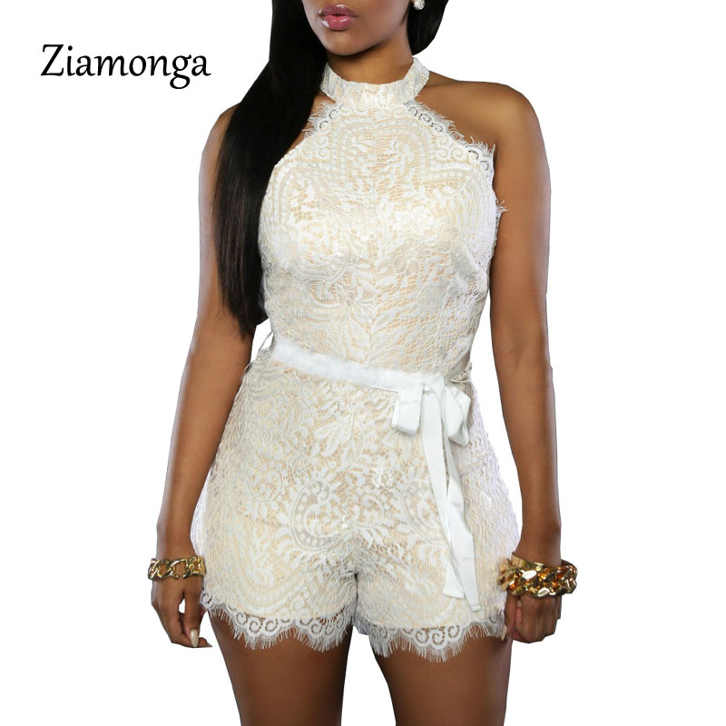 Ziamonga Summer Floral Lace Jumpsuit Off Shoulder Sexy White Rompers