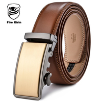 FIRE KIRIN Leather Belt Men 2017 Gold Luxury Belts Men High Quality Brown Cowskin Belt Casual