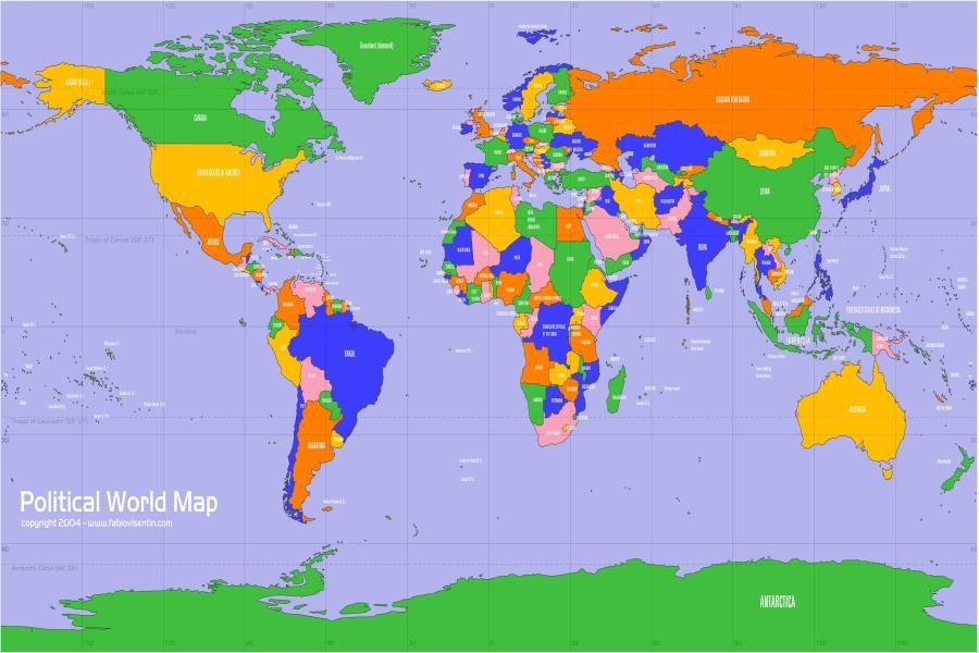 World Map Wallpaper Custom Colorful Wall Mural Classical ...