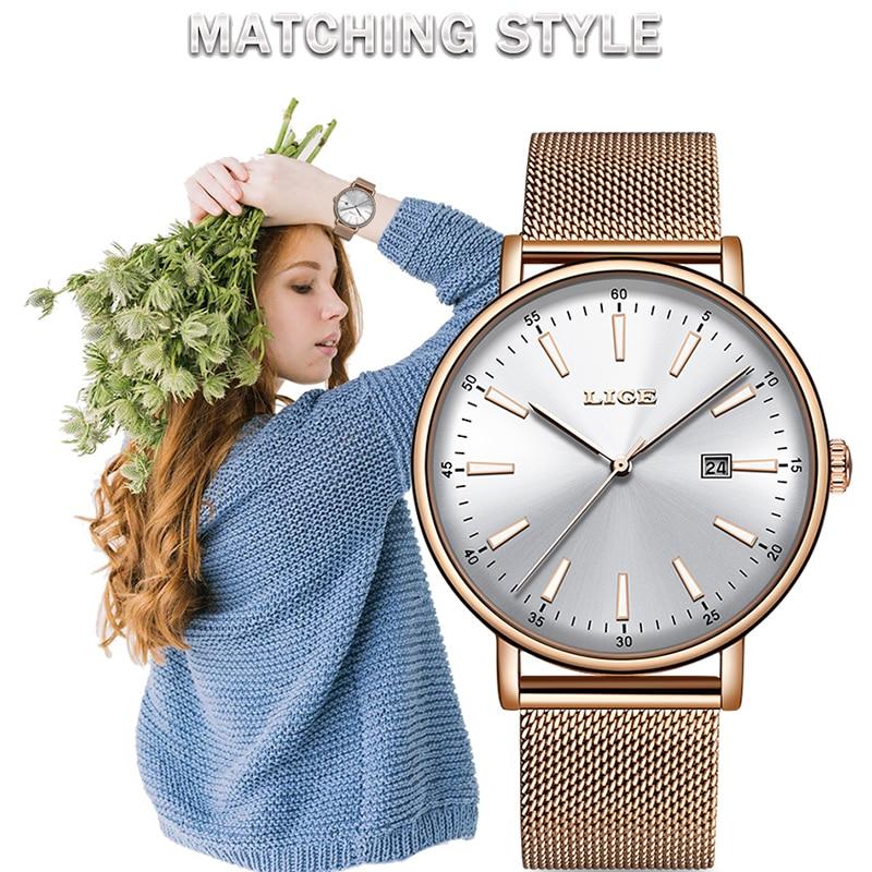 LIGE Women Watches Top Luxury Brand Quartz Watch Lady Fashion Luminous Clock Waterproof Date Girl Wristwatch Gift for Wife 2019
