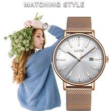 LIGE النساء الساعات العلامة التجارية الفاخرة ساعة كوارتز سيدة الموضة ساعة مضيئة مقاوم للماء تاريخ فتاة ساعة اليد هدية للزوجة 2019
