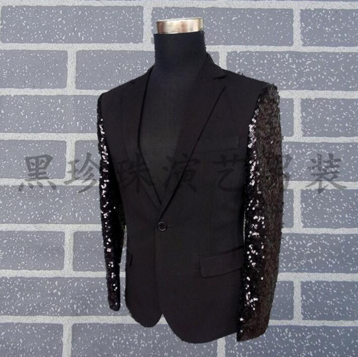 Black men suits designs masculino homme terno stage costumes for singers men sequin blazer dance splice clothes jacket style