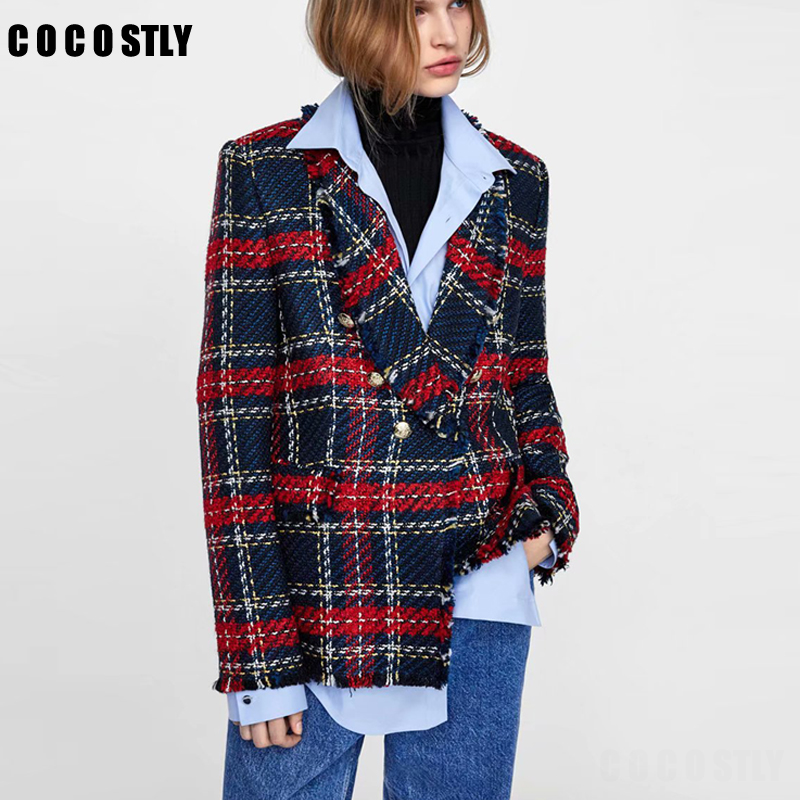 Vintage Double Breasted Frayed Checked Tweed Blazers Women 2019 Fashion Pockets Plaid Ladies Outerwear Casual Casaco Femme
