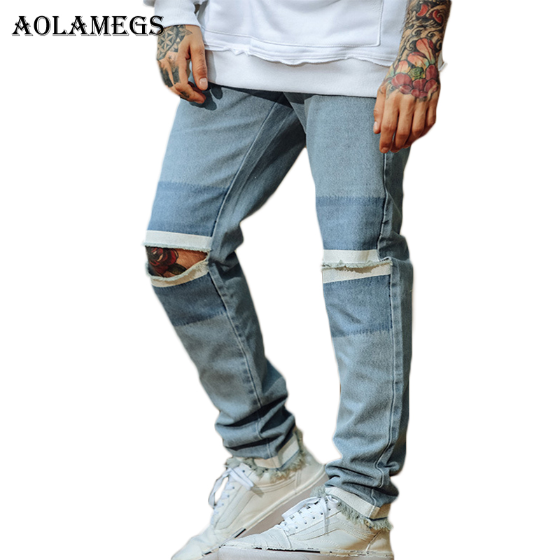 Aolamegs Jeans For Men Print Ripped Holes Biker Worn Pants Tassel Mens Selvage Skinny Jeans Baggy Denim Cotton Trousers Fashion