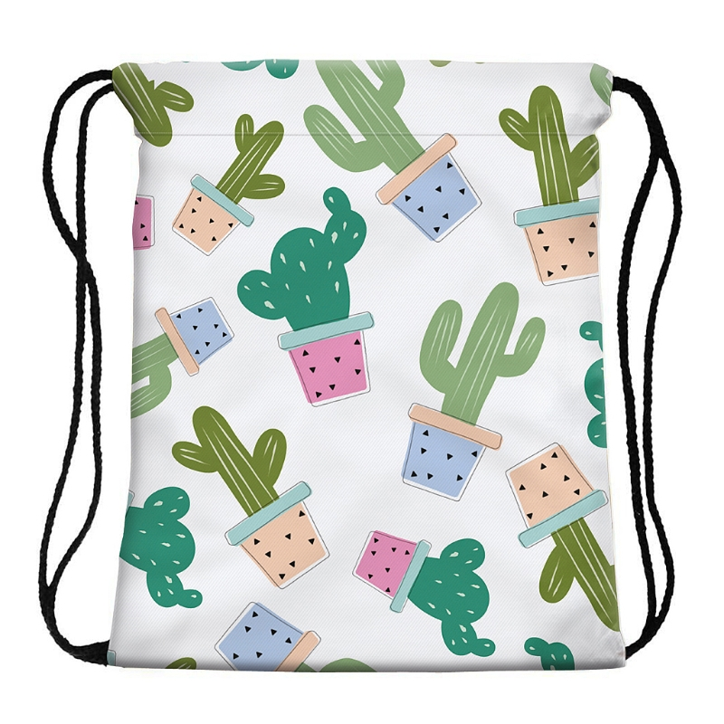 Swimming Cartoon Cactus Print Drawstring Beach Bag Sport Gym Cactus Print Backpack Travel School Bag